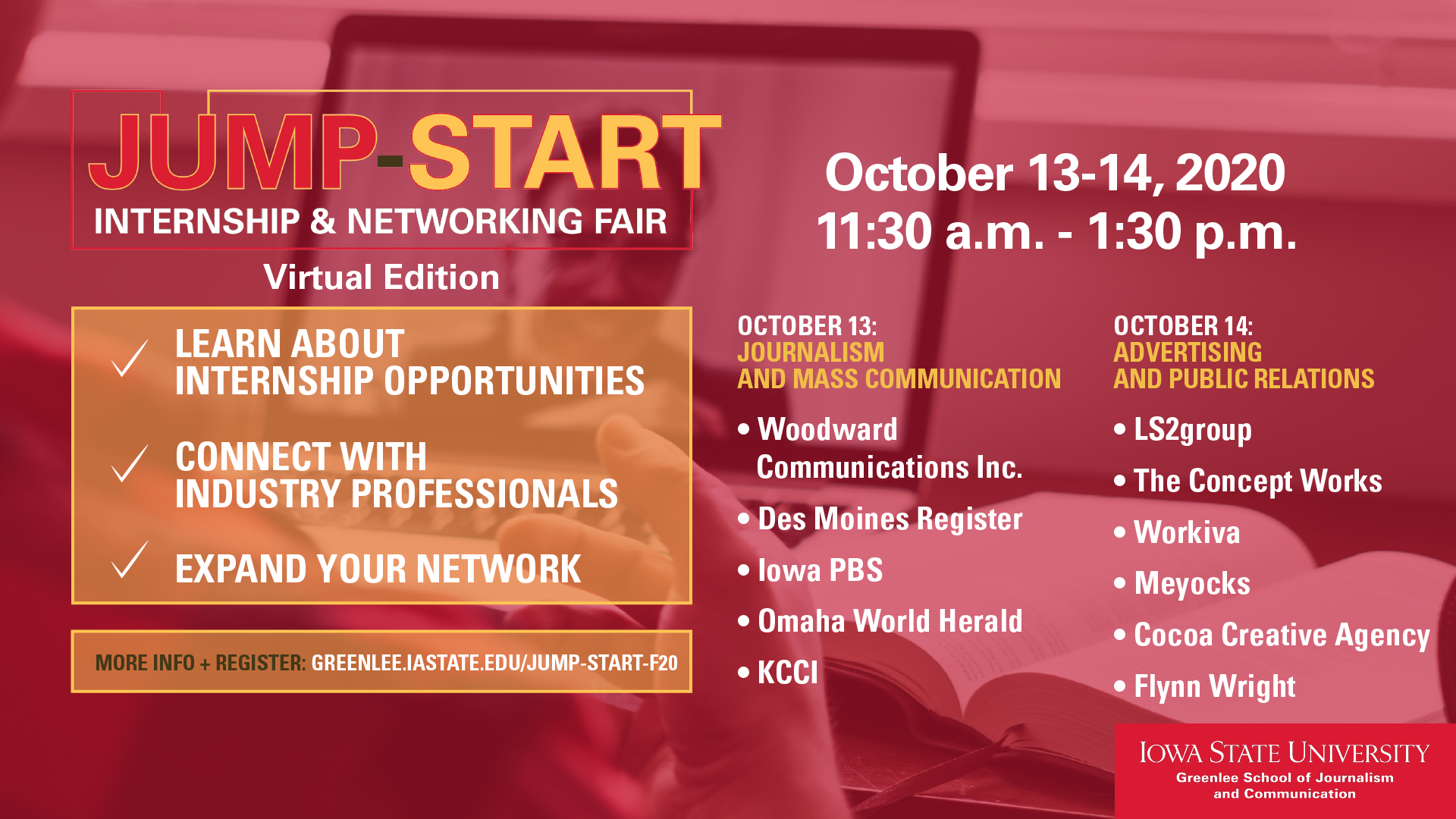 fall 2020 Jump-Start Internship and Networking Fair graphic