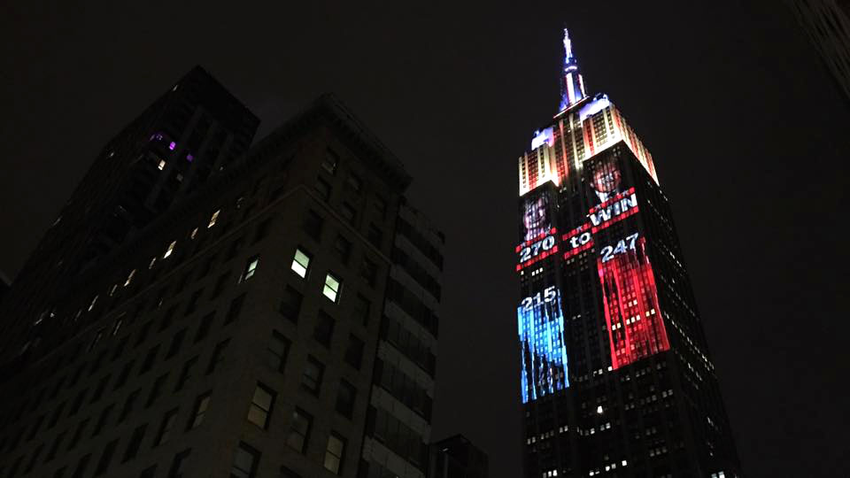 Lissandra Villa snapped a photo of an electoral vote projection on the Empire State Building while in New York City on election day.