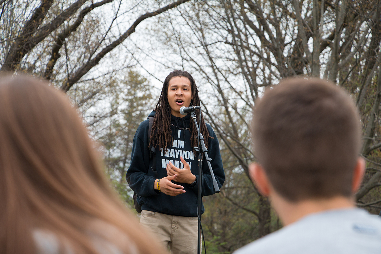 Julian Neely, junior in journalism, and others gave soapbox speeches at the Feast on the First. Photo by Emily Blobuam