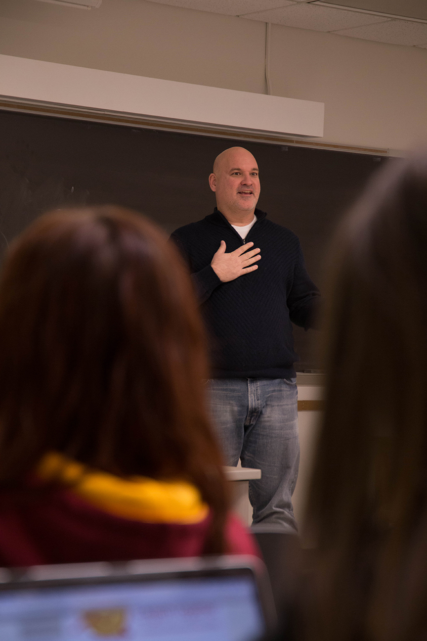 Michael Wigton teaches Strategic Planning for Social Media in fall 2018. Photo by Megan Gilbert