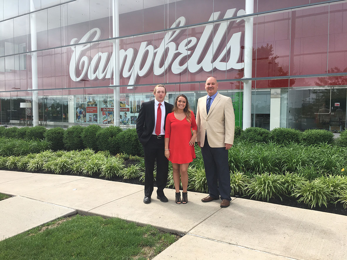 From left, Michael Englund, Toni Ugolini and Greenlee School Lecturer Michael Wigton at Campbell Soup Company headquarters in Camden, New Jersey.