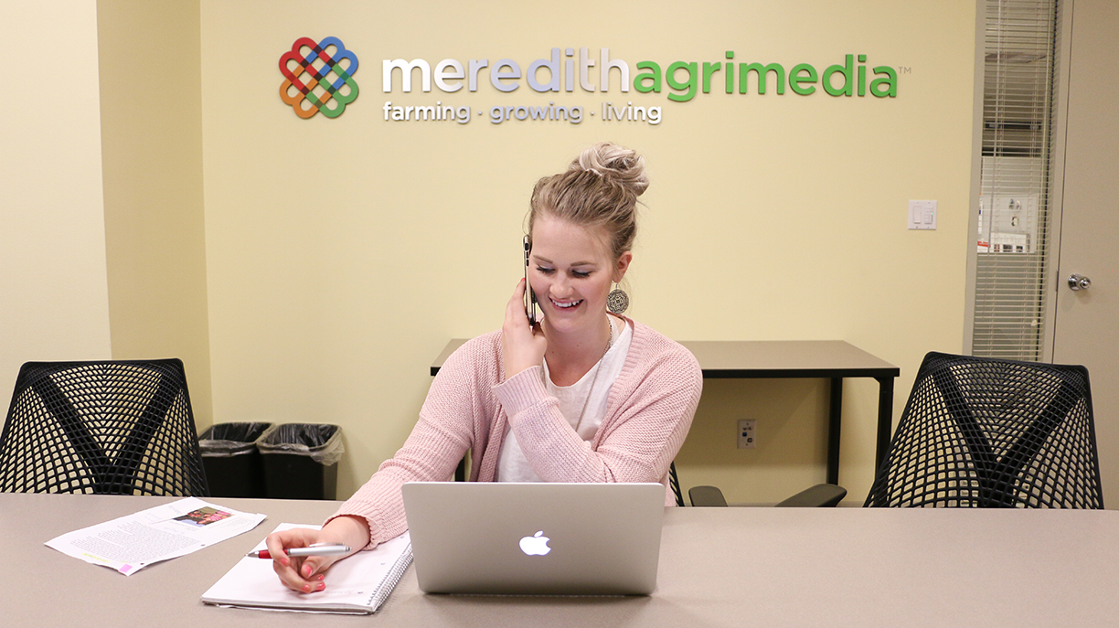 Allison Luety ('17 public relations) regularly interviewed sources as a Meredith apprentice. Photo by Emily Blobaum