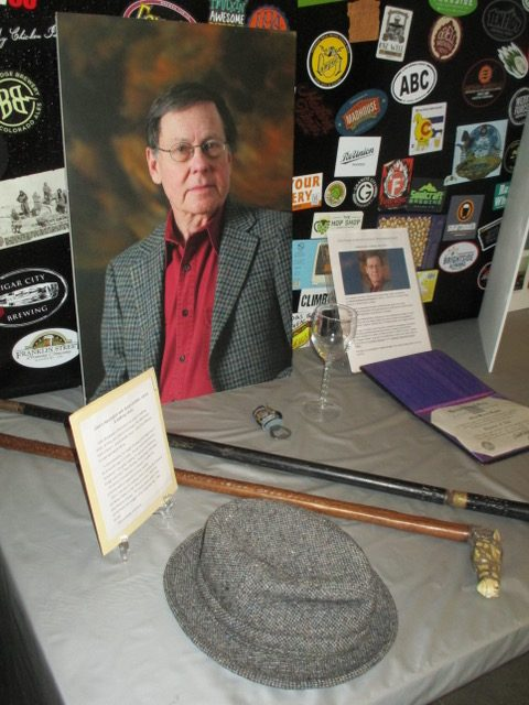 A display celebrating Giles Fowler