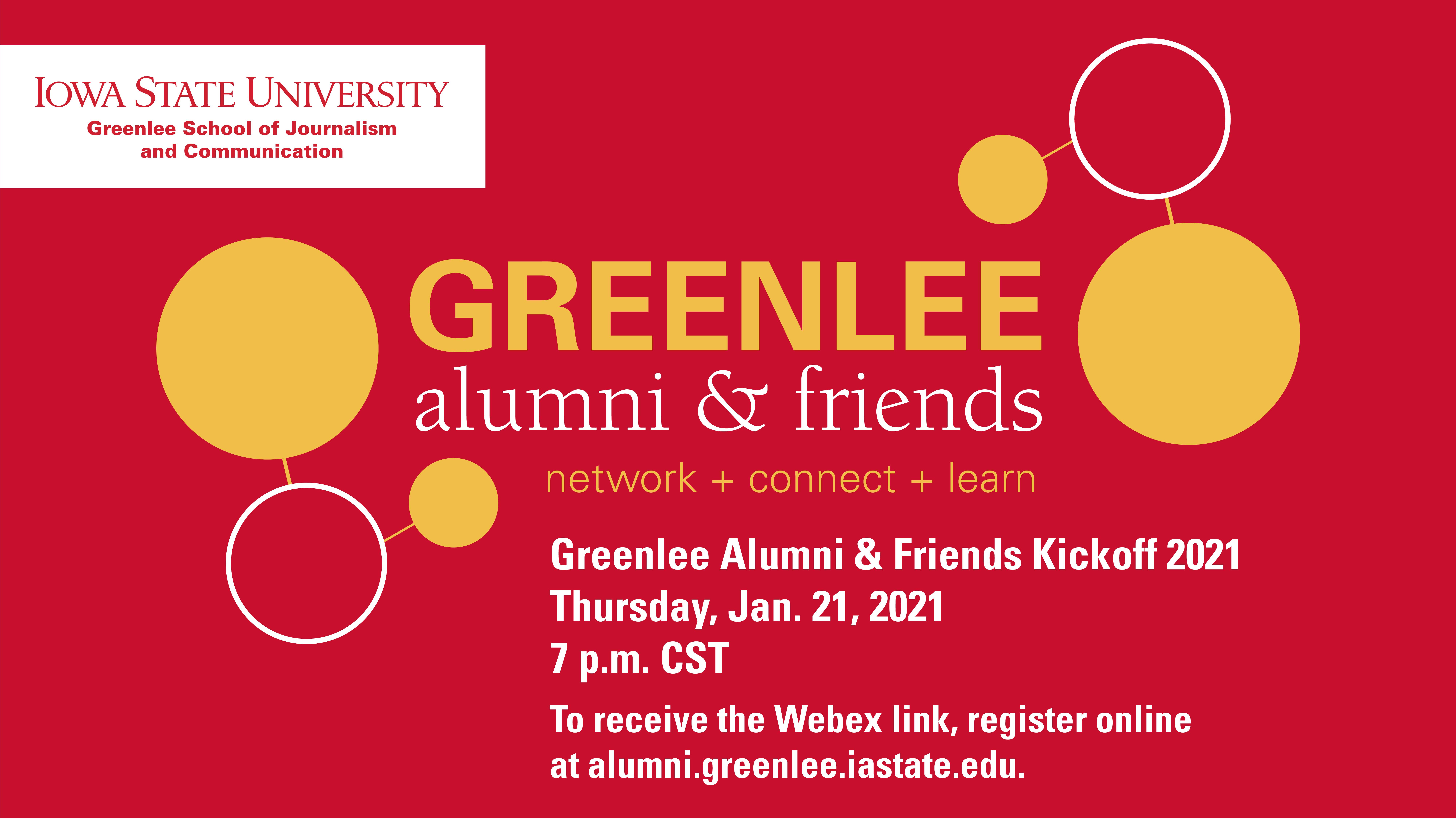 Greenlee Alumni and Friends Kickoff Graphic 2021