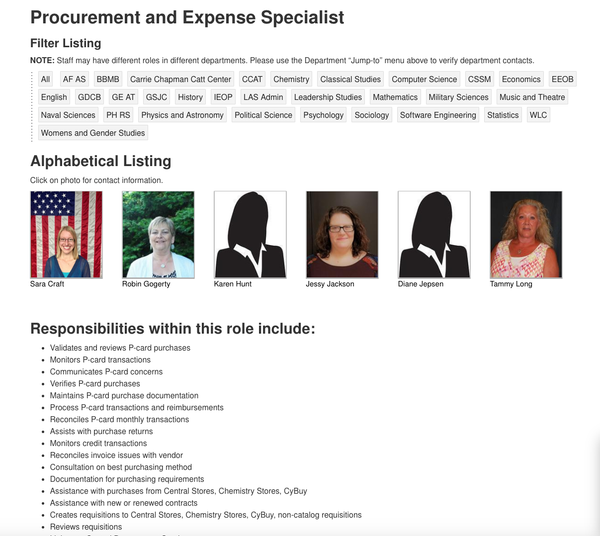 Screen shot of the procurement and expense specialist page which lists the responsibilities of a procurement expense specialist. https://my.las.iastate.edu/people-finder/procurement-and-expense-specialist/