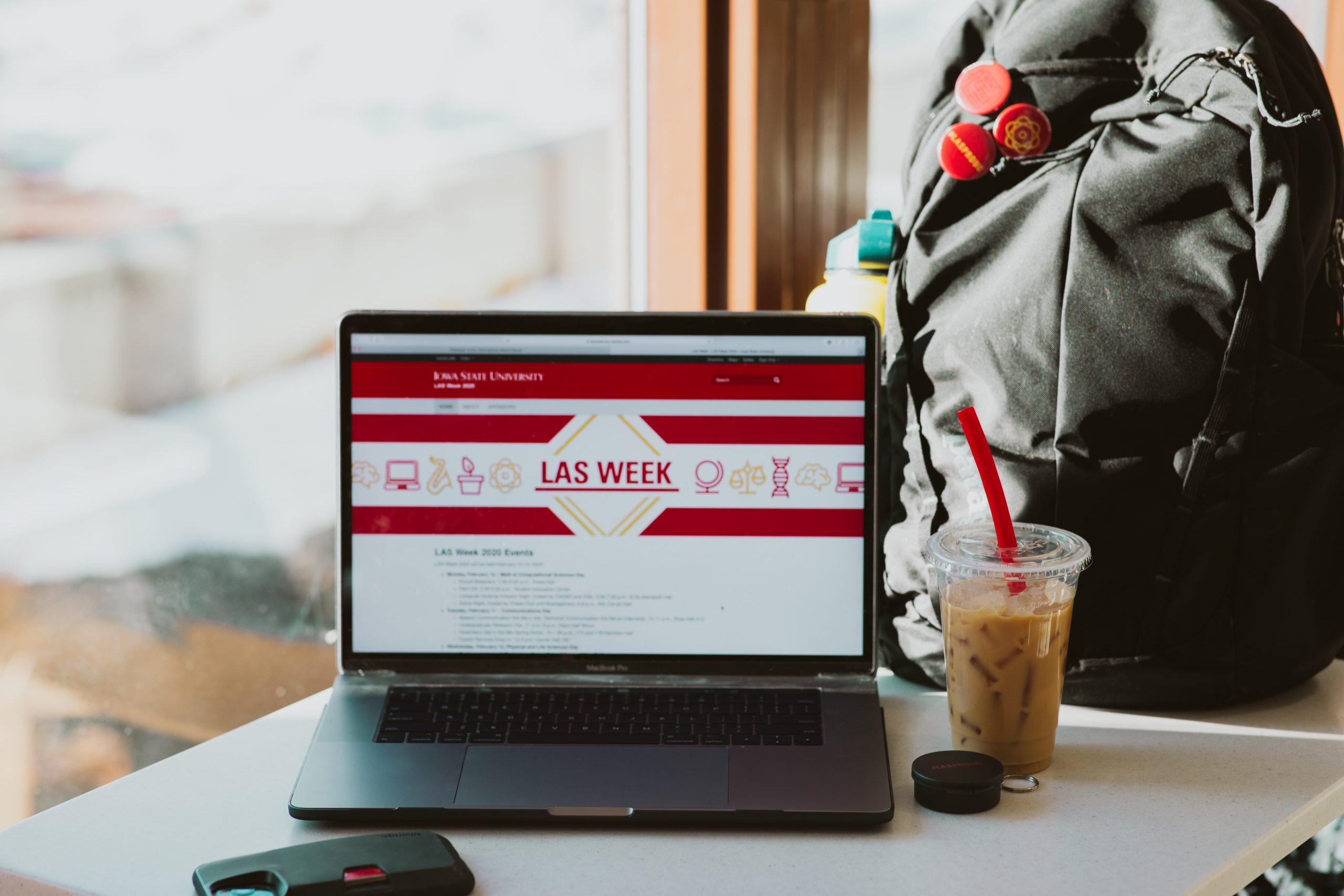 laptop with LAS Week displayed on screen