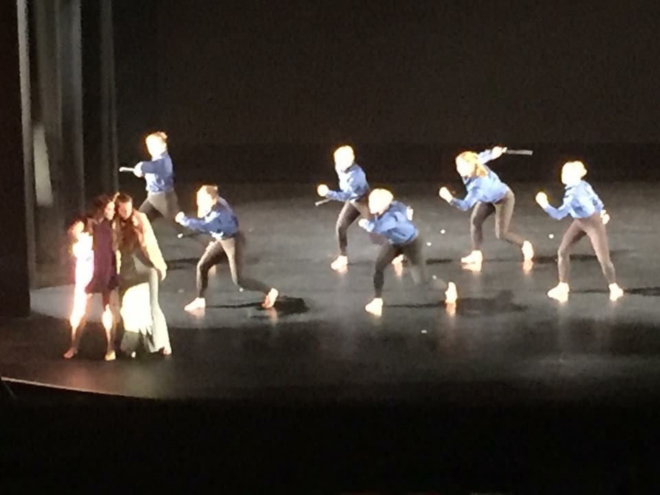 "Orchesis I Dance Company members in ""Stonewall"" choreographed by undergraduate student, Rachel Lord."