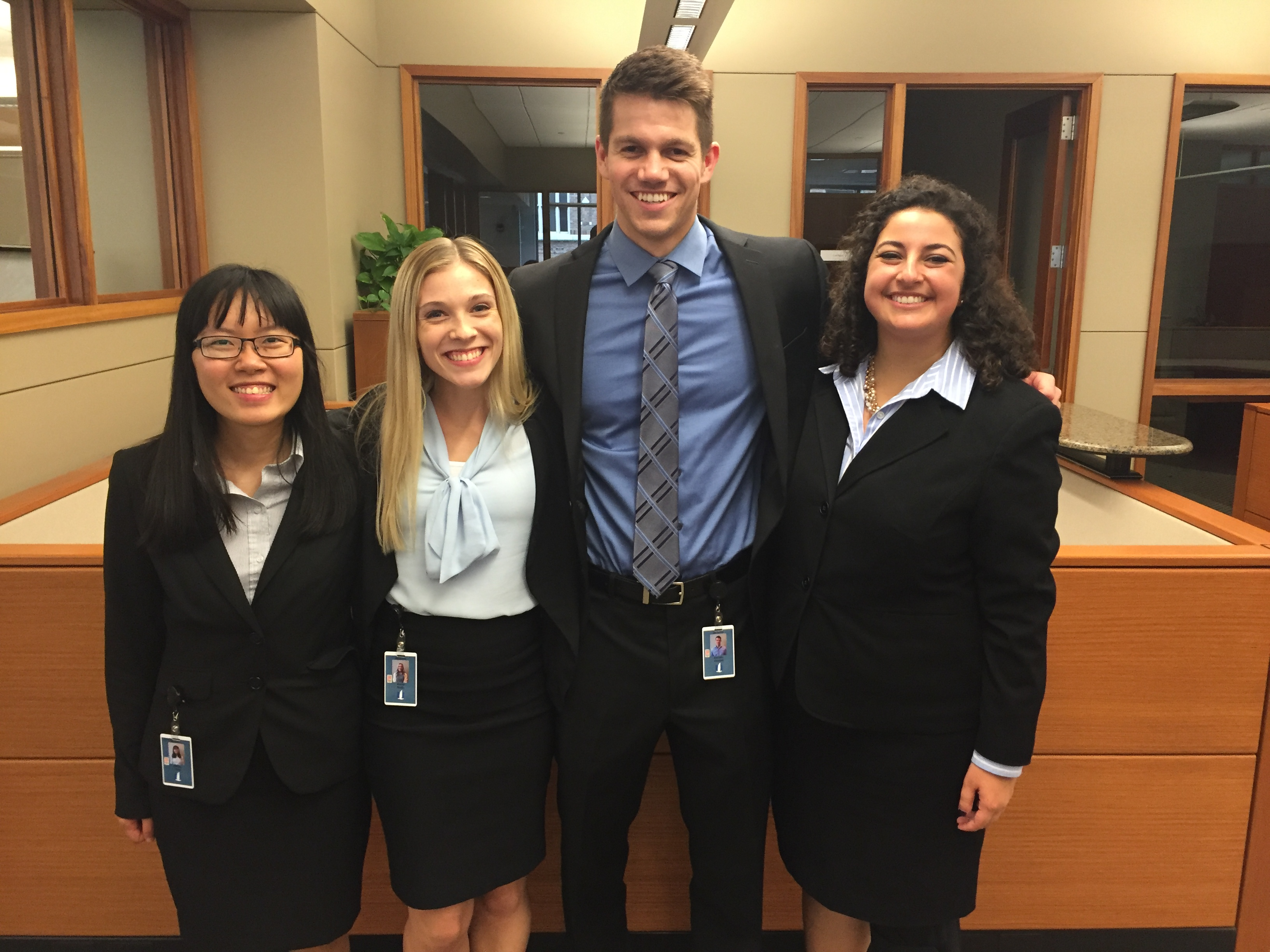 Aimee (second from left) poses with fellow interns at Nationwide Insurance.