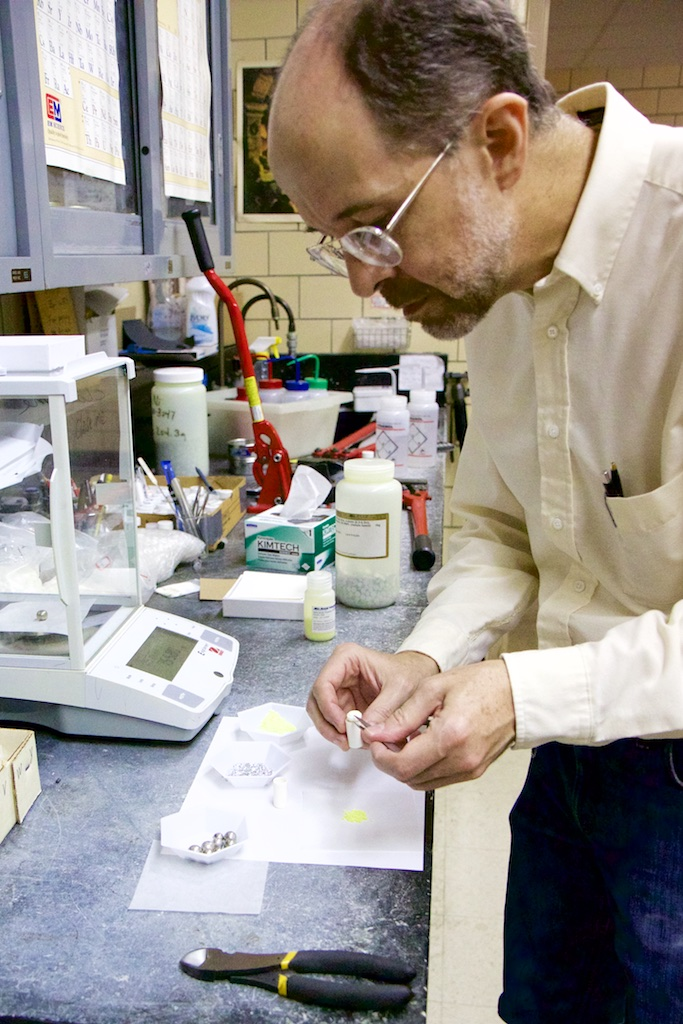 Paul Canfield in his lab at the Ames Laboratory.