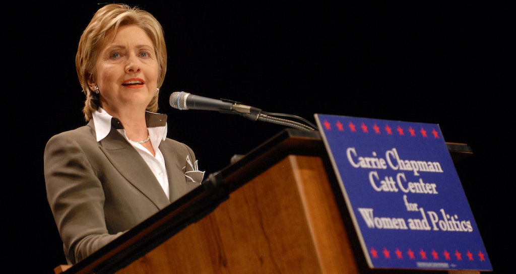 Hillary Clinton speaks at Iowa State University in 2007 as the Mary Louise Smith Chair in Women and Politics.