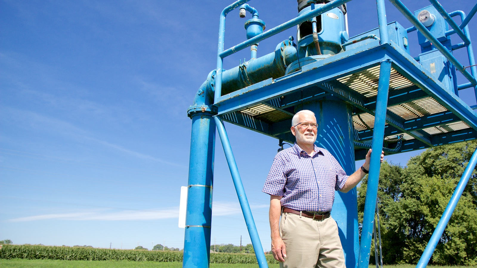 Bill Simpkins stands at the downtown well field in Ames, Iowa.