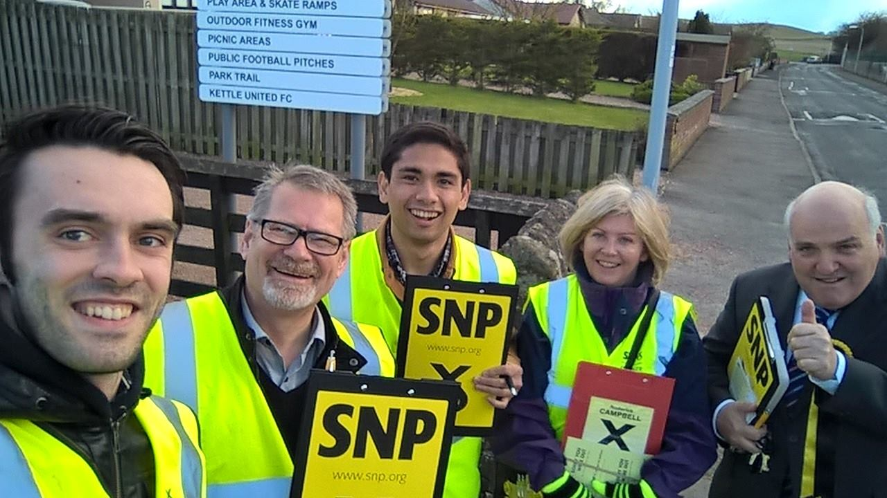 Brian Garrido canvasses Scottish voters in the North East Fife constituency during a parliamentary internship abroad.