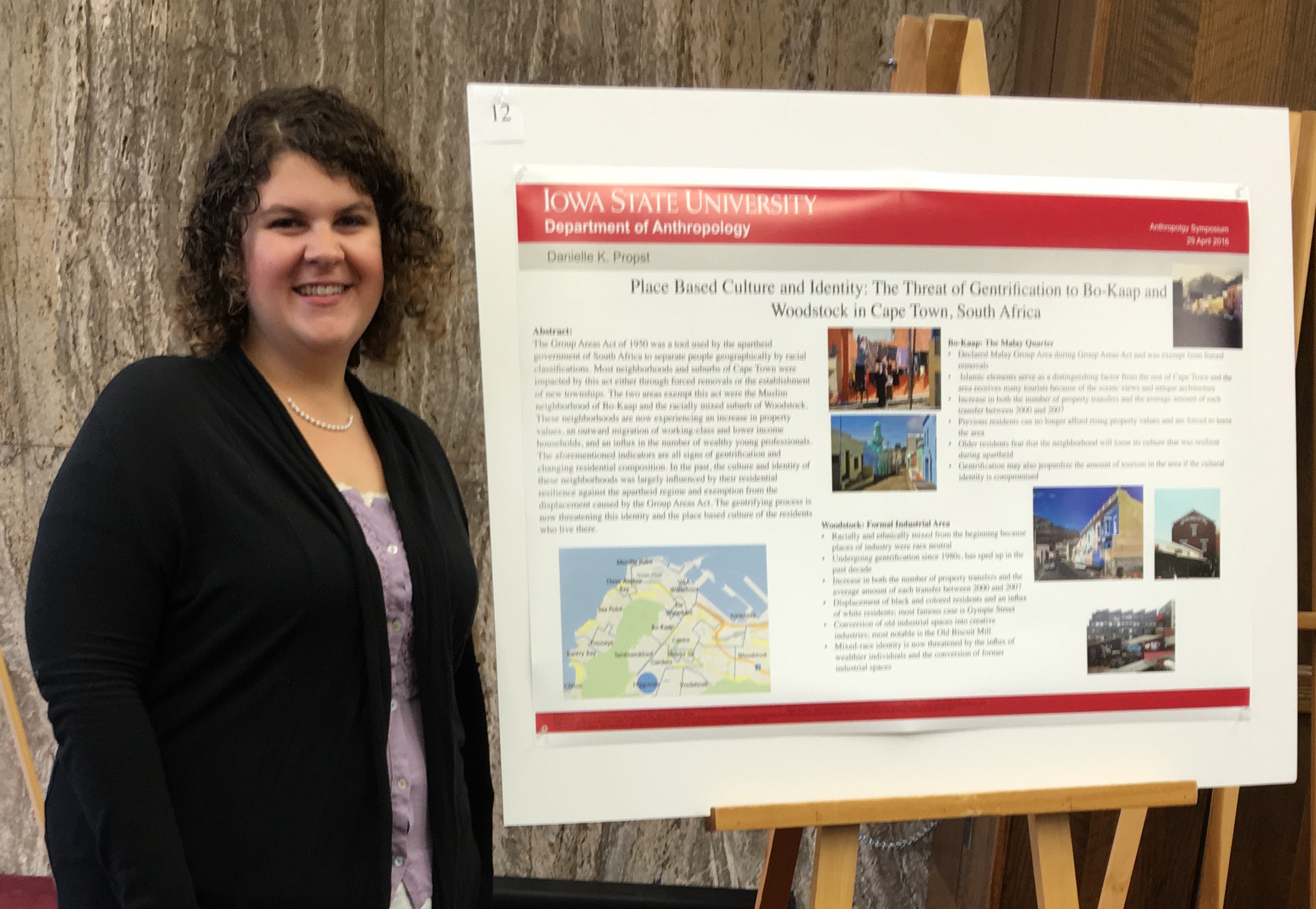 "Propst presents research from her independent study, ""Place Based Culture and Identity: The Threat of Gentrification to Bo-Kaap and Woodstock in Cape Town, South Africa"" at the Undergraduate Anthropology Symposium in April 2016."