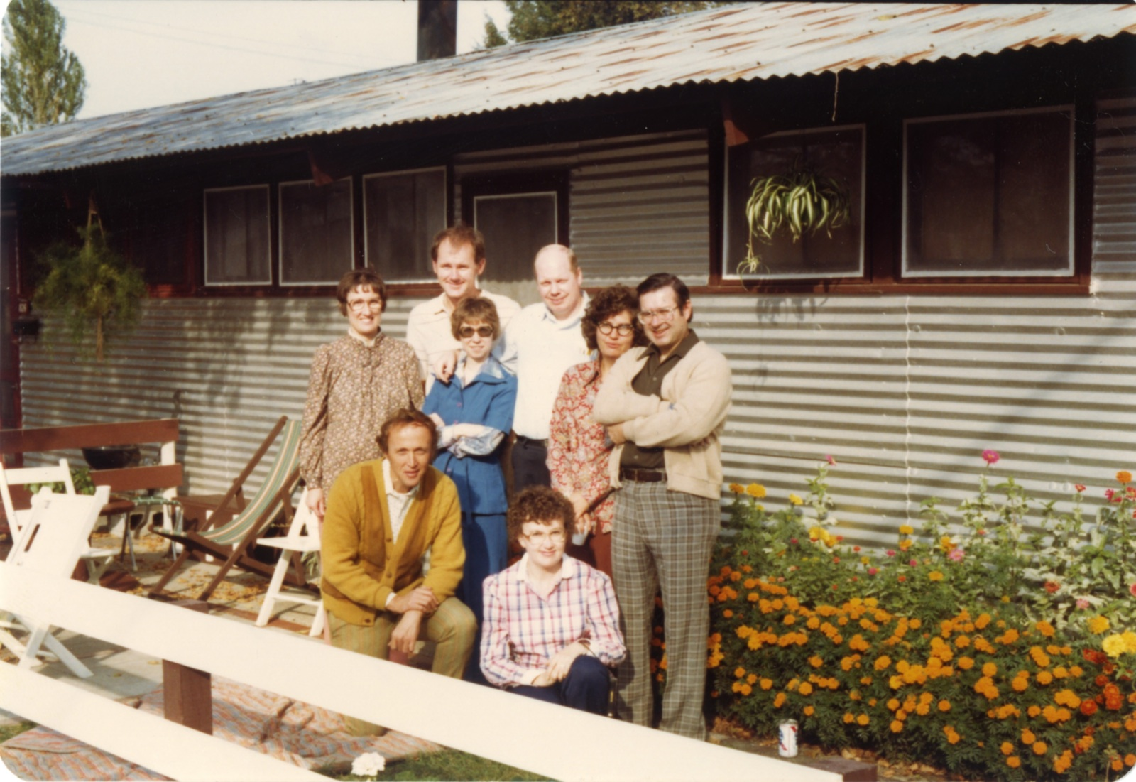 Patio party at 824 Pammel Court, home of Janet Jepeway. Left to right: Joyce and John Cook, Helen Boles and Stan, Roberta Brown (Shaffer), Jim Pomeroy, Bob Brown (kneeling), Barb Pomeroy (O