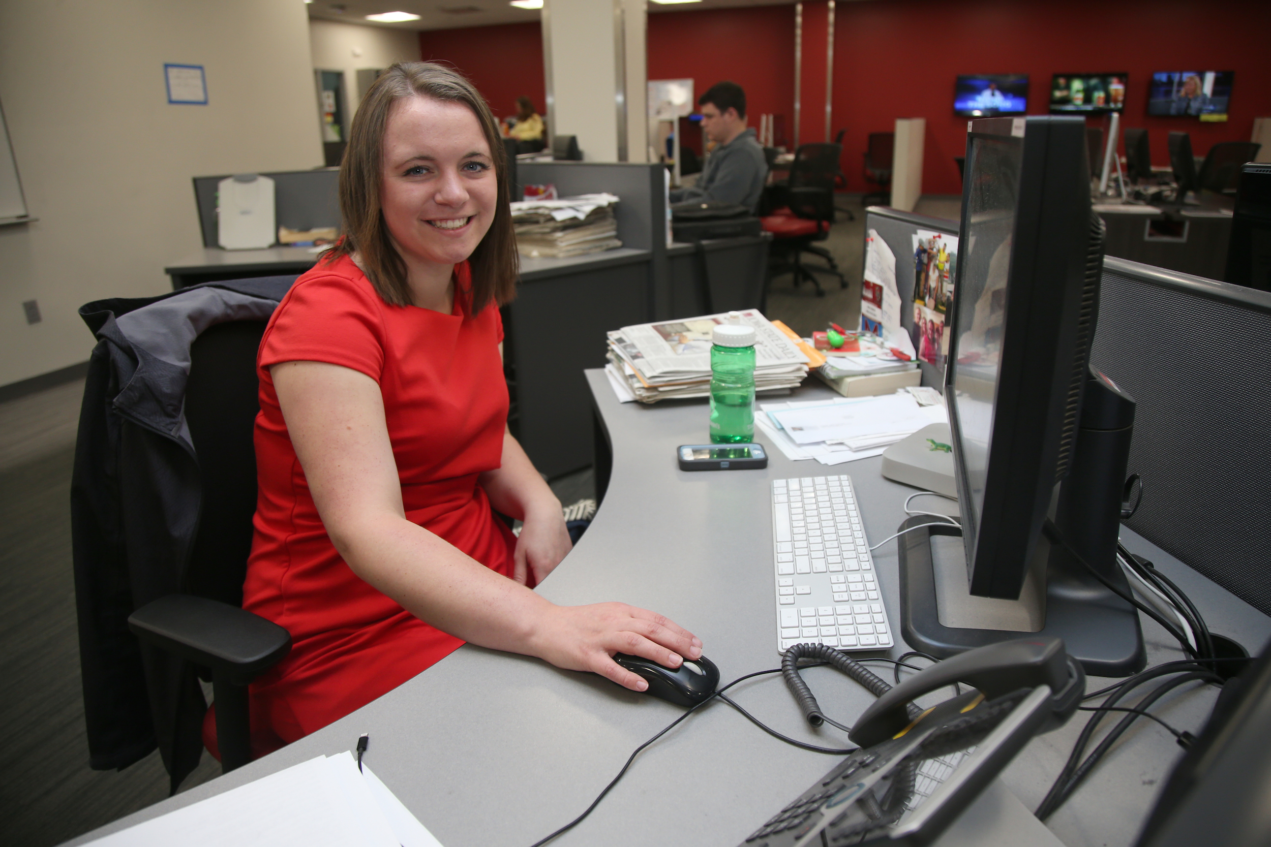 Emily Barske leads a team of writers, editors, photographers, designers and others as editor-in-chief of the Iowa State Daily. (Blake Lanser/Iowa State University.)