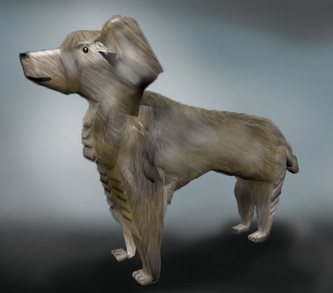 Illustrated model of Victory the Dog.