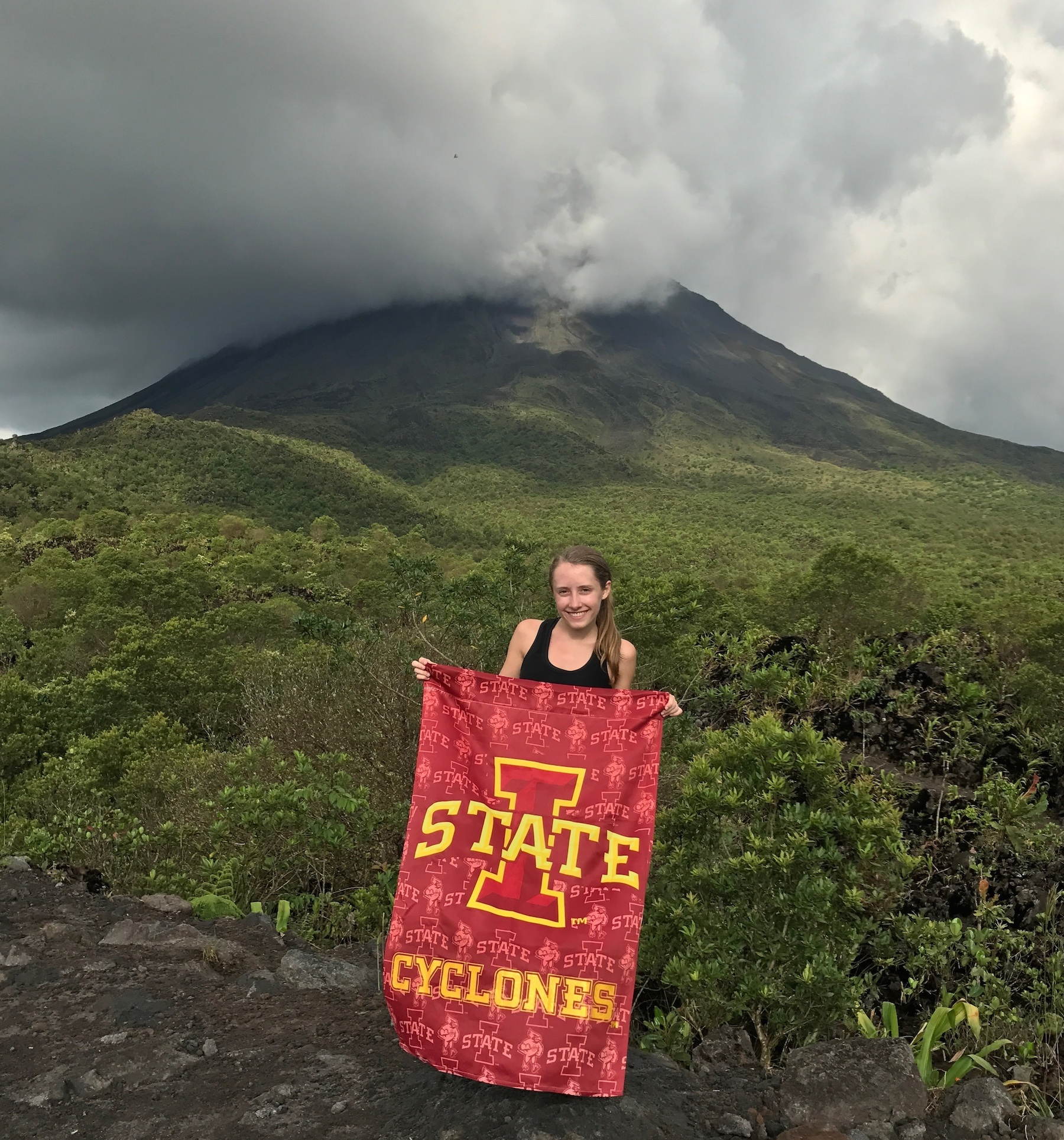 Emily Dux ('18 English) studied abroad in Costa Rica. This photo was taken on the summit of the most recent lava flow of Arenal Volcano in Costa Rica.