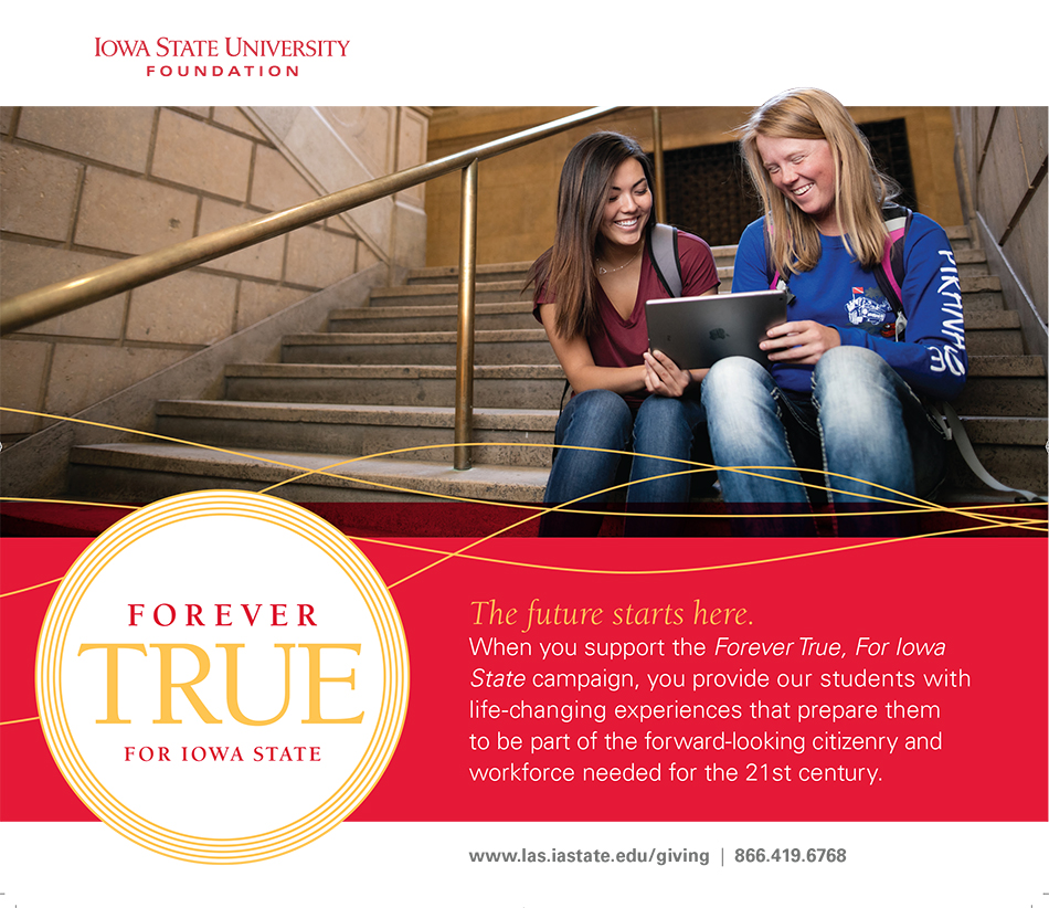 Two girls on steps looking at an iPad. The future starts here - when you support the Forever True, For Iowa State campaign, you provide our students with life-changing experiences that prepare them to be part of the forward-looking citizenry and workforce needed for the 21st century.