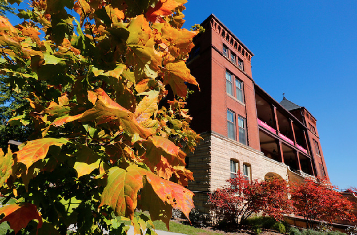 Catt Hall with fall leaves in left of the frame.