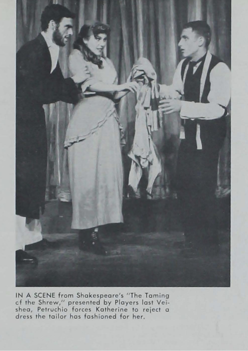 A black and white yearbook photo showing three students on stage during a Shakespeare play.