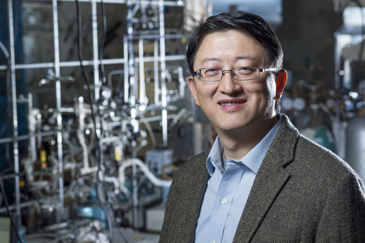 Wenyu Huang in his Hach Hall chemistry lab. He is working on nanotech-based catalyst technology.  (Christopher Gannon/Iowa State University)