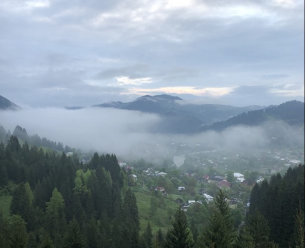 Beautiful mountains are shrouded in mist in Western Ukraine