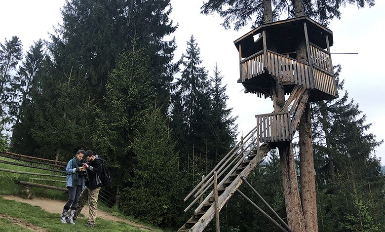 Students stand near a rustic treehouse on a mountaintop in Lviv.