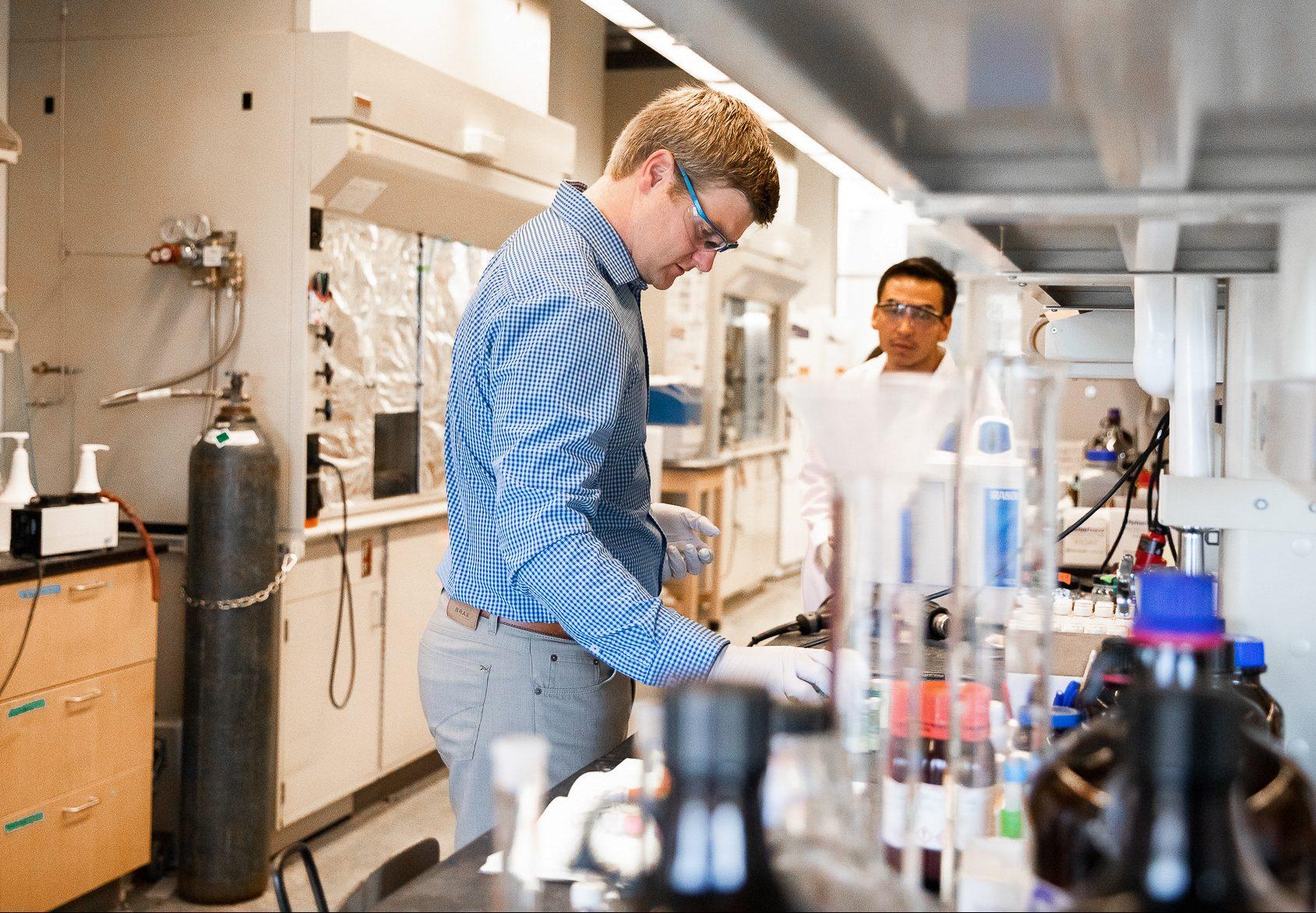 Brett VanVeller works in his lab