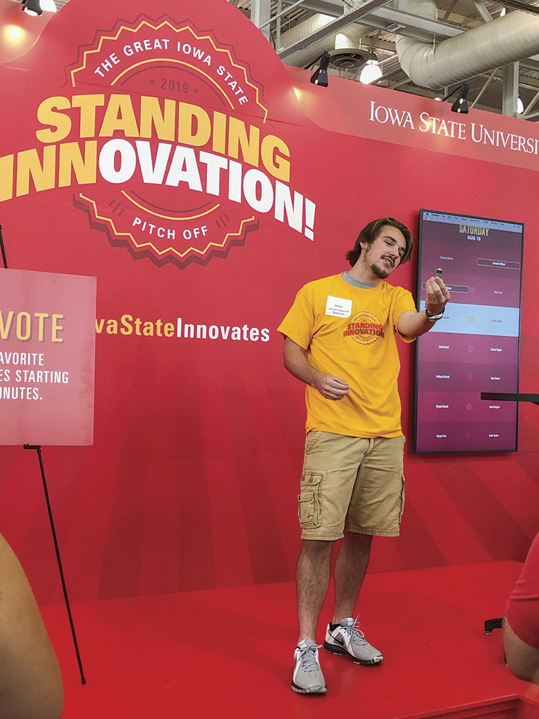 Dillon Jensen presenting at the LAS pitch competition at the Iowa State Fair