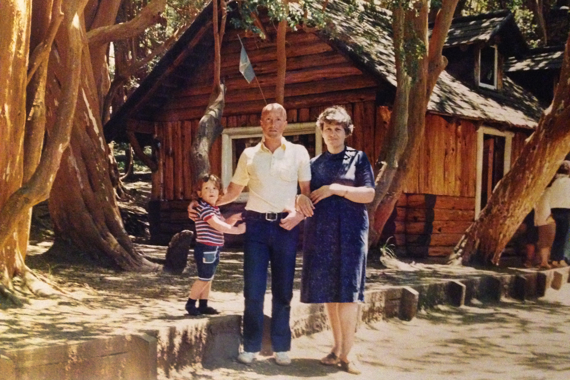 Assistant Teaching Professor of Spanish M. Celeste Gonzalez Chaves in 1991 with her parents in Argentina