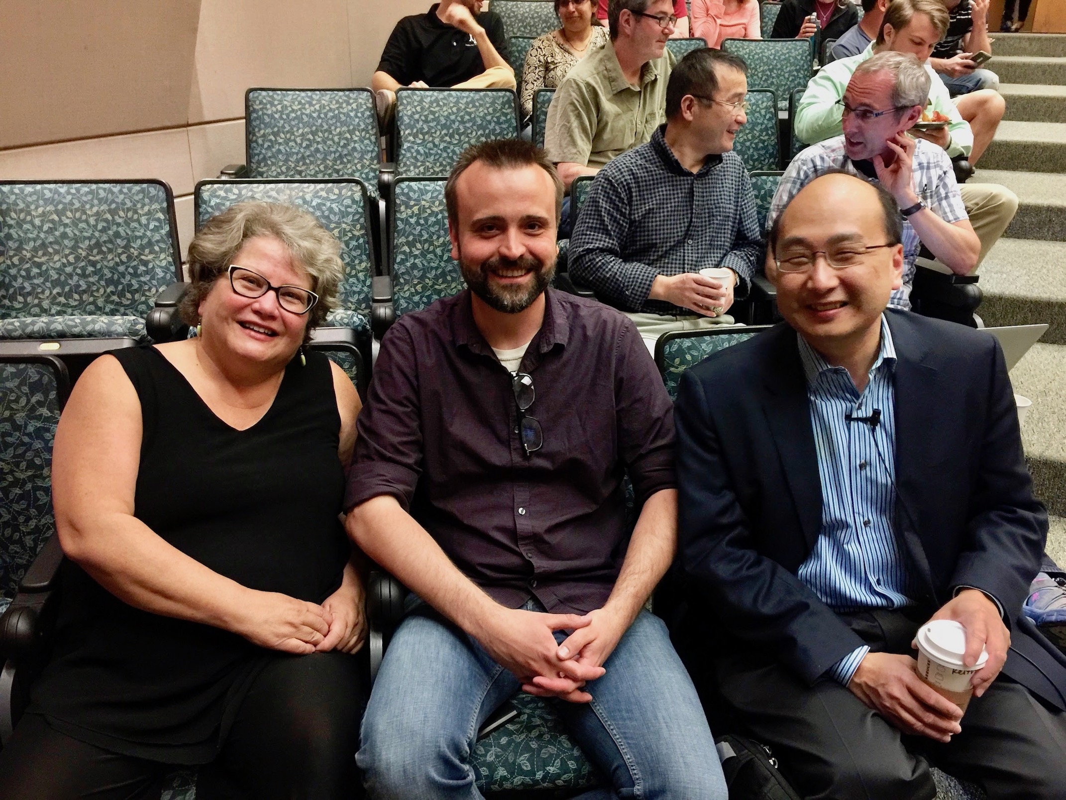 Drena Dobbs, Jeff Sander, Keith Joung in Iowa State lecture hall.