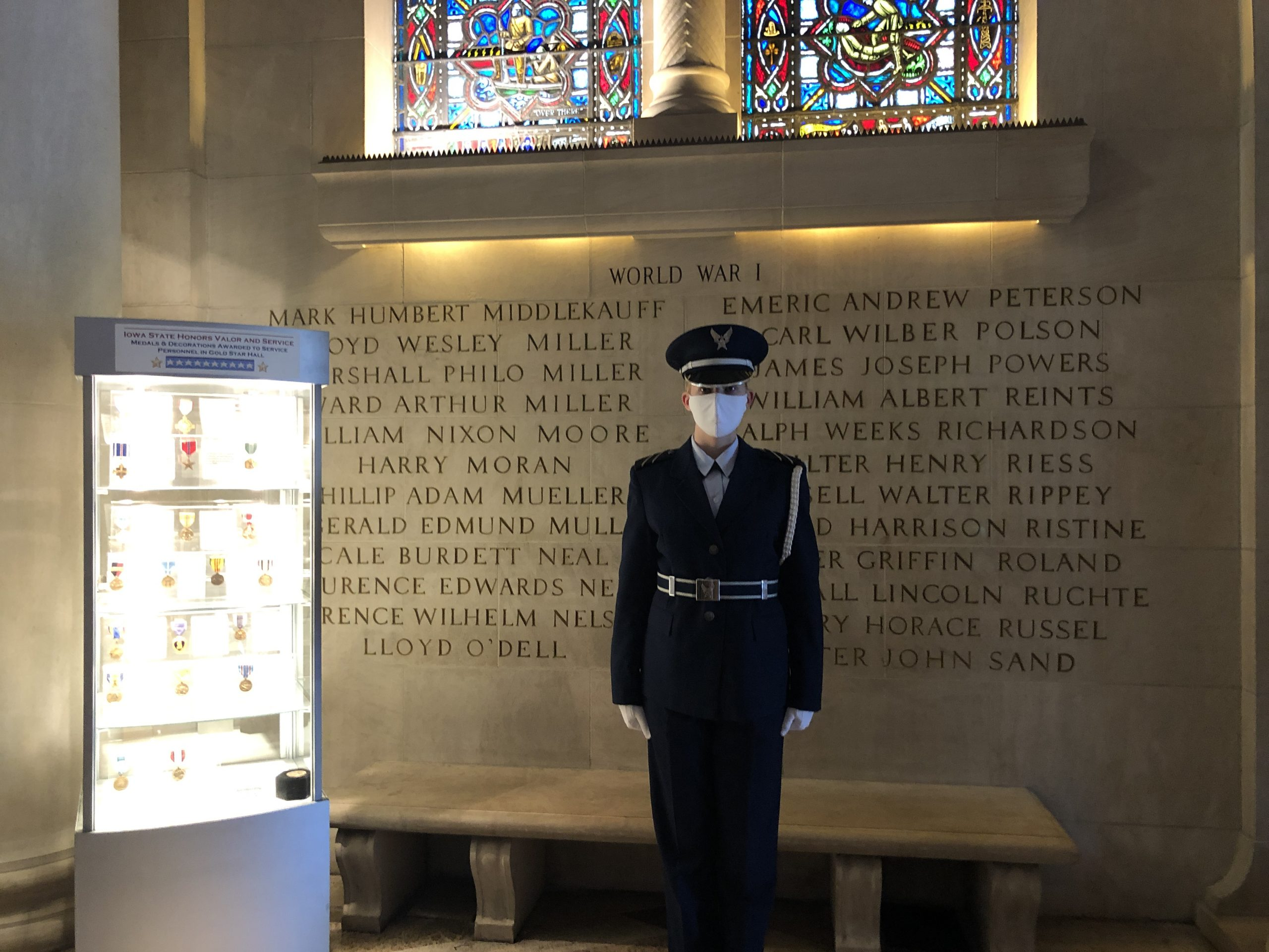 Cadet stands in ISU Memorial Union Gold Star Hall