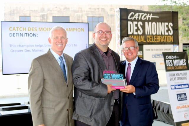 Brad Dell received the Catch Des Moines Champion Award from the Des Moines Convention and Visitor's Bureau. <br> From left: Tom Mahoney, Chairman & CEO of ITA Group; Brad Dell, associate professor of theater; Greg Edwards, President & CEO of Catch Des Moines. Contributed Photo.