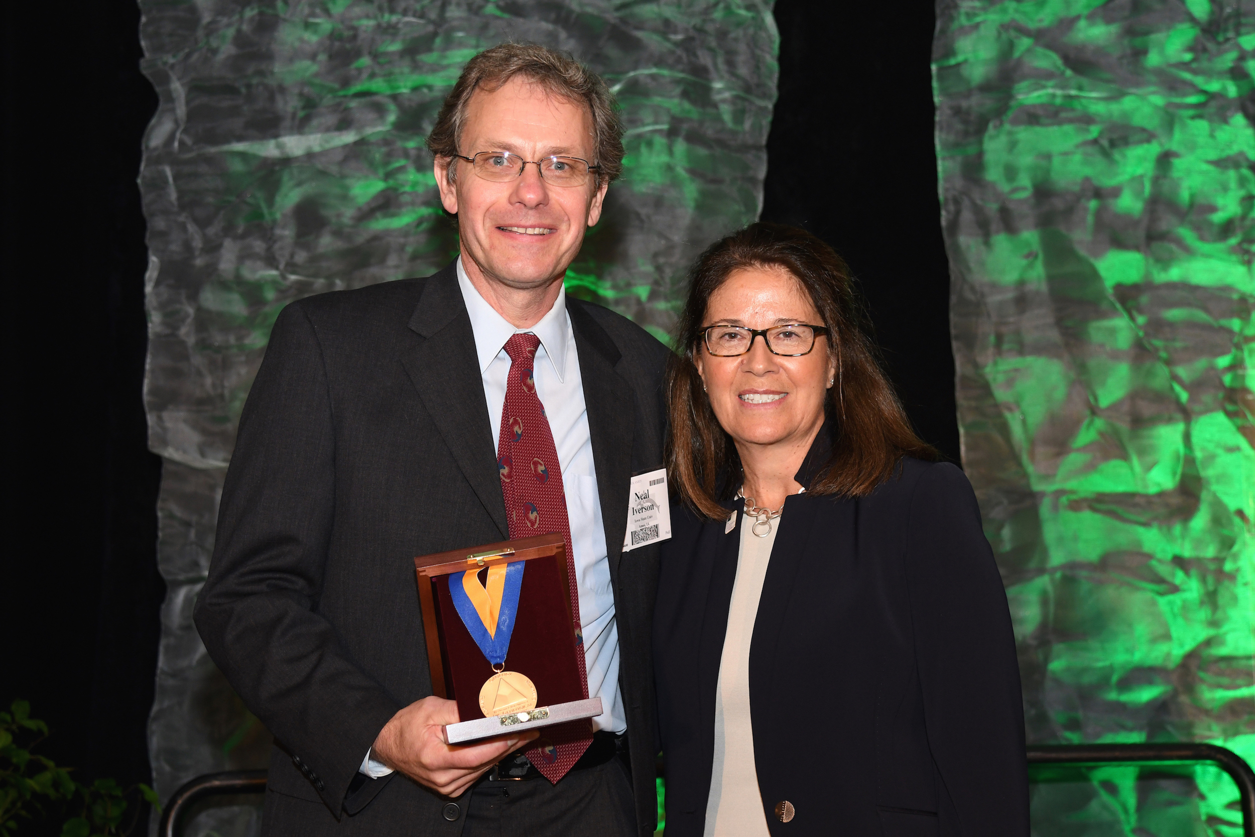 Neal Iverson receives the Arthur L. Day Medal from the Geological Society of America. (Contributed Photo.)