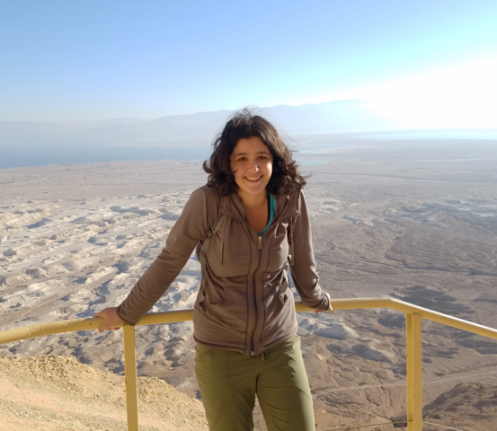 Student standing in front of a yellow railing with a desert landscape in the background