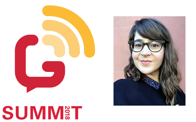 Red and yellow summit logo portraying communications with lines and photo of speaker Kellen Henry