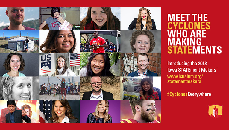 A graphic of the pictures of all of the statement makers and text that says Meet the Cyclones who are making statements.