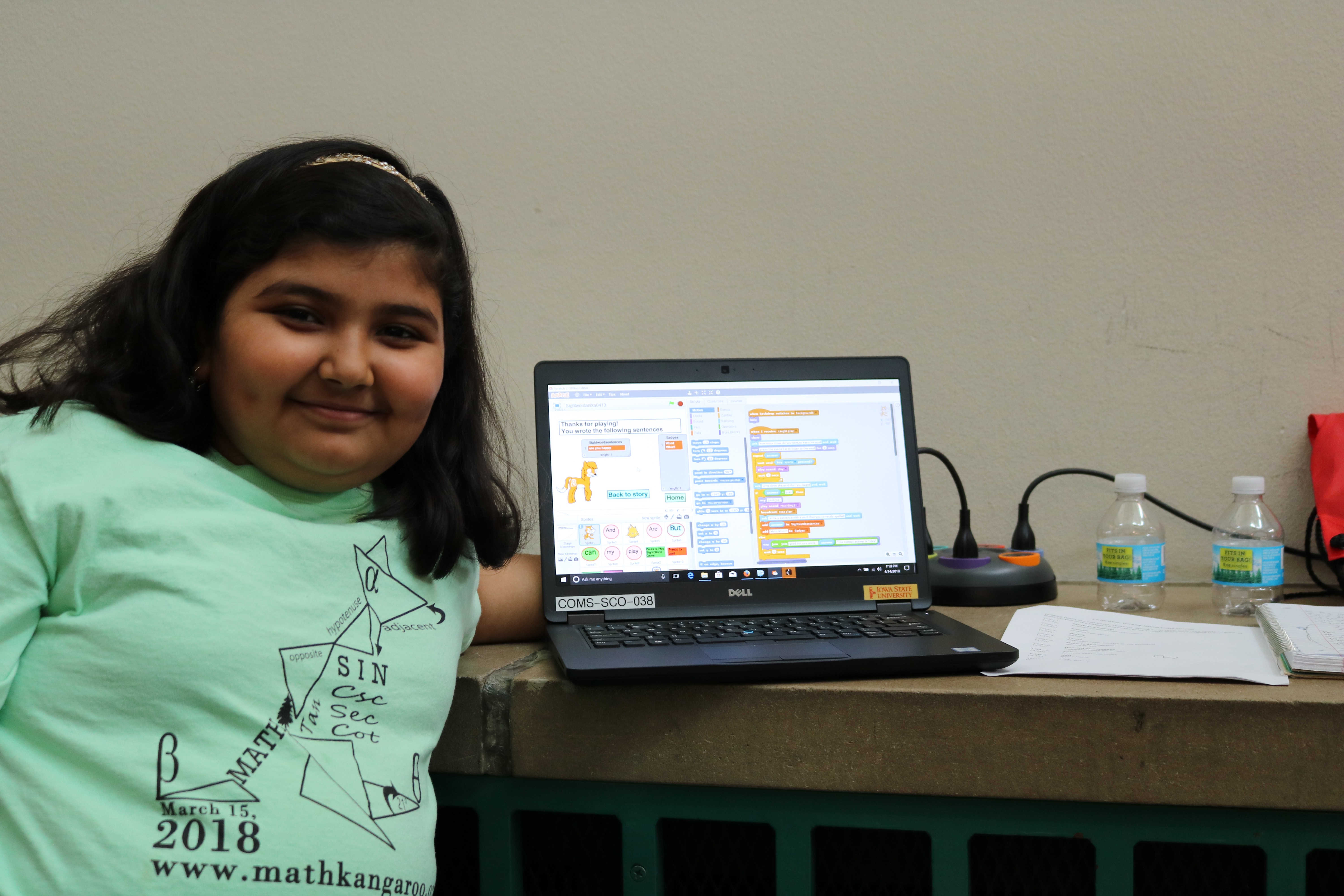 Anika Shrotriya with her literacy learning game.