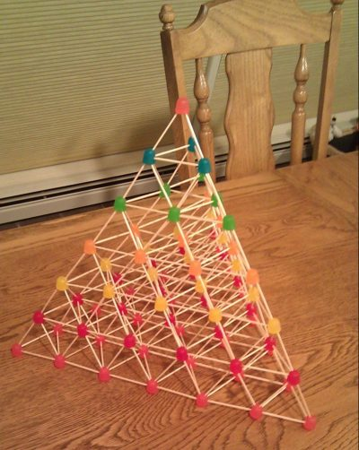 A gumdrop and toothpick pyramid. Submitted photo.