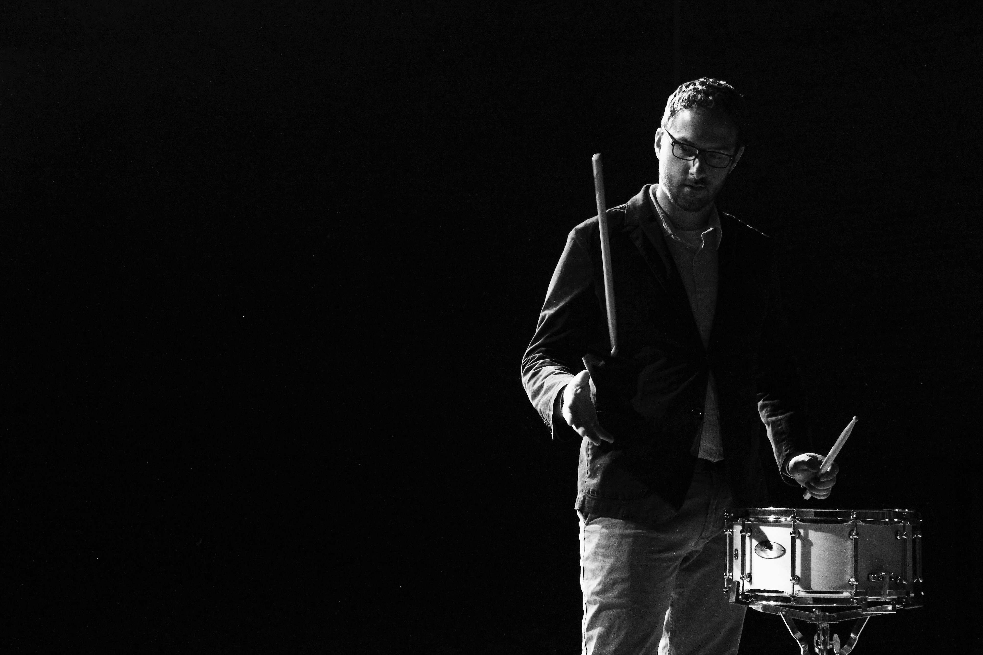 Portrait style photo of a drummer