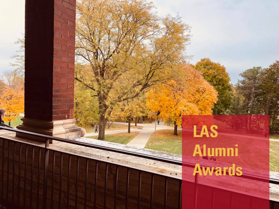 Trees with yellow leaves as viewed from Catt Hall balcony. Words LAS Alumni Awards.