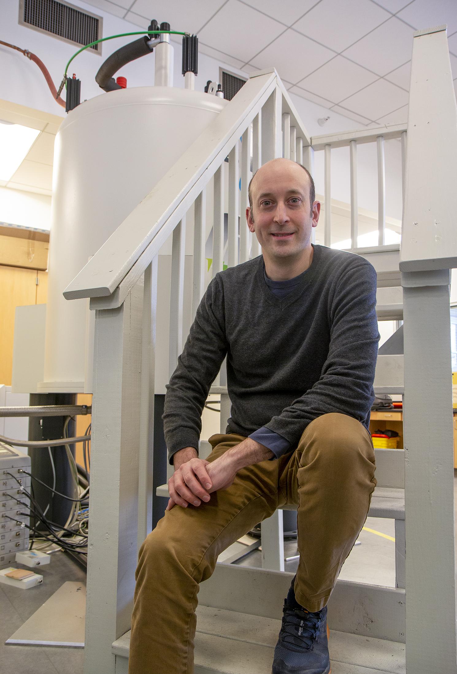 Chemist Aaron Rossini in his lab