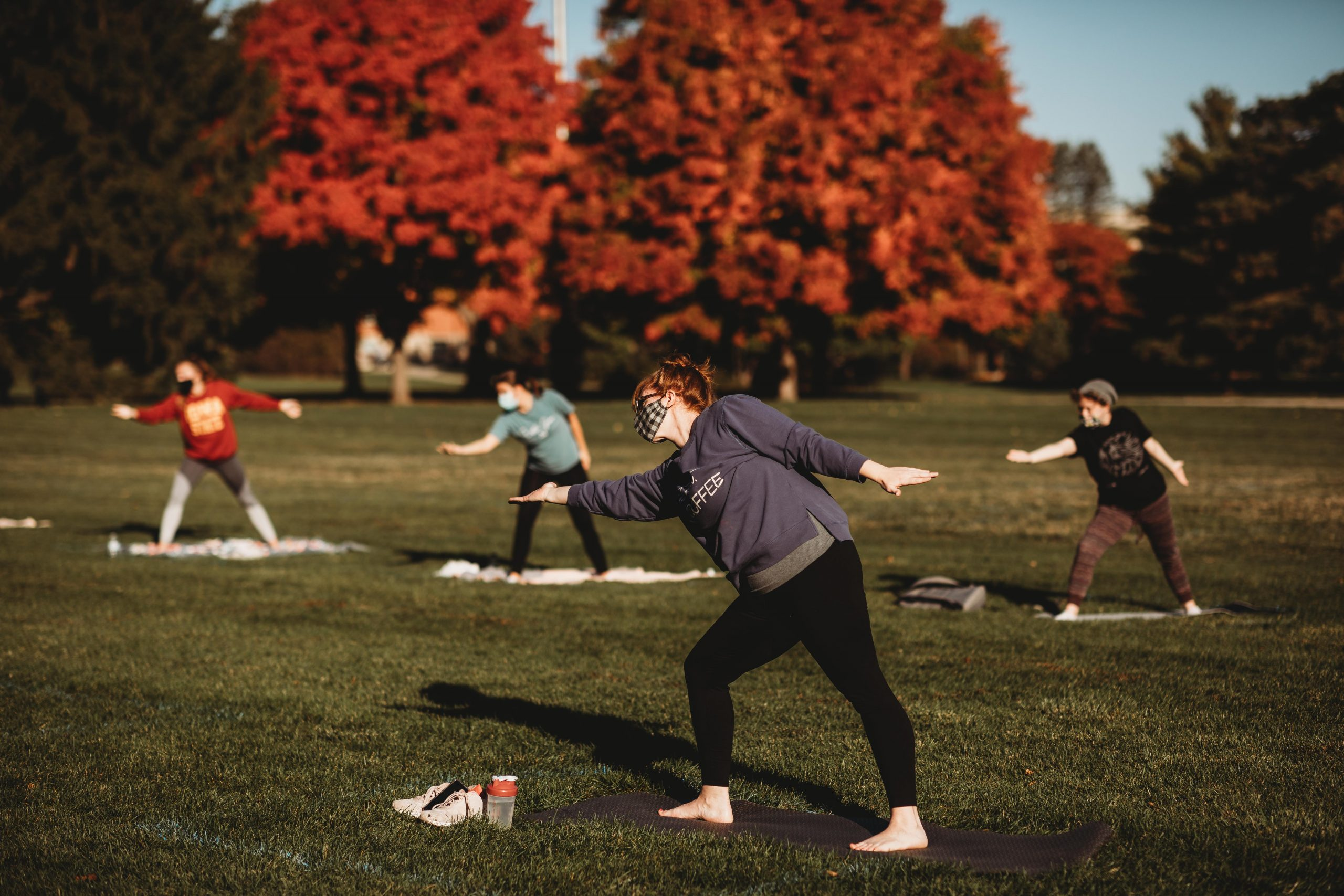 Socially distanced yoga on central campus