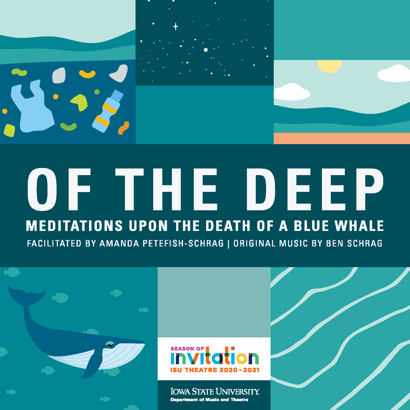 "Images of a whale, ocean, trash with text ""Of the Deep: Meditations on the Death of a Blue Whale"""