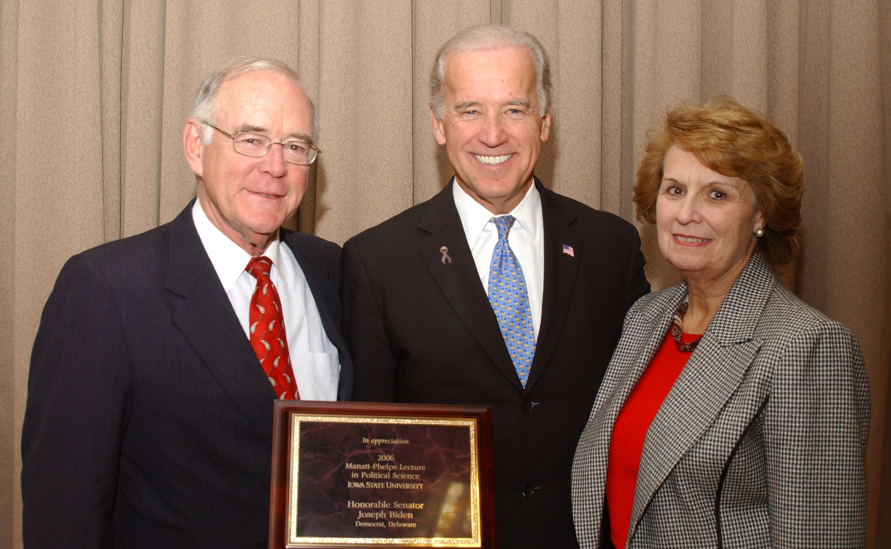 Vice President Joe Biden delivered the 2006 Manatt-Phelps Lecture when he was U.S. Senator from Delaware. Photographed with him are Kathleen Manatt and the late Charles T. Manatt.