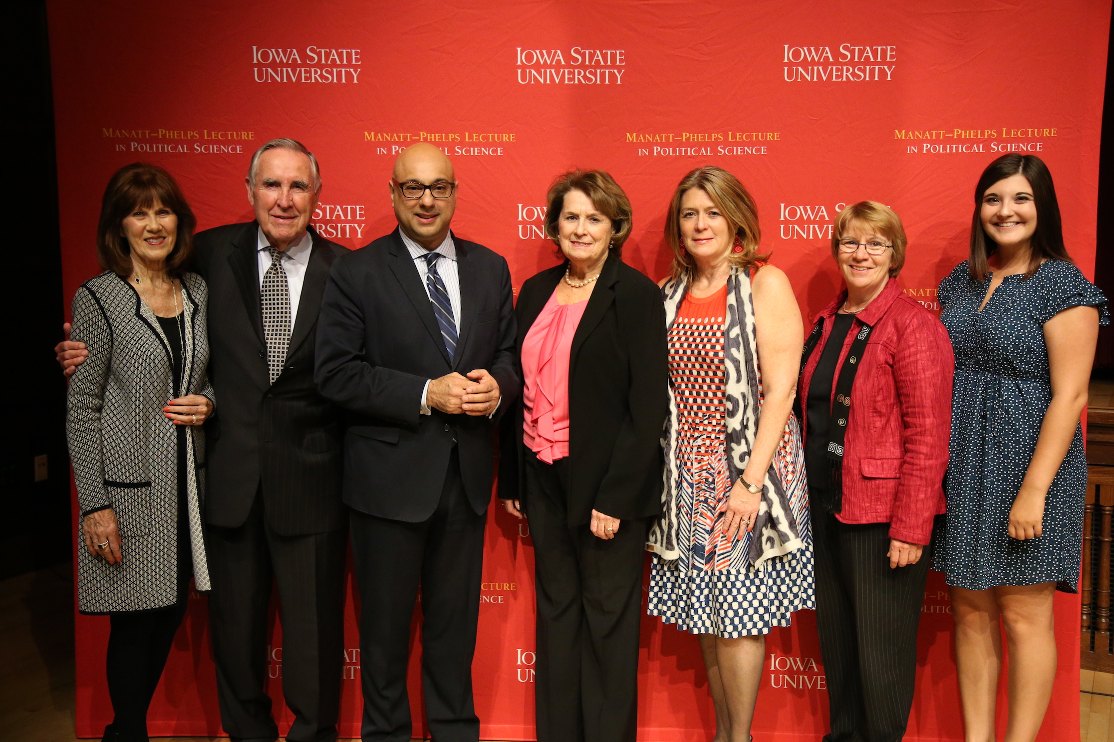 Left to right: Elizabeth Phelps, Thomas Phelps, Ali Velshi, Kathleen Manatt, Michele Manatt, Beate Schmittmann and BriAna Campbell.