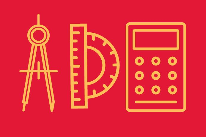 Red background and yellow icons of a mathematical compass, ruler and protractor, and calculator