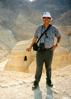Dr. Hector Avalos at Qumran, Israel, the site near where some of the Dead Sea Scrolls were found.