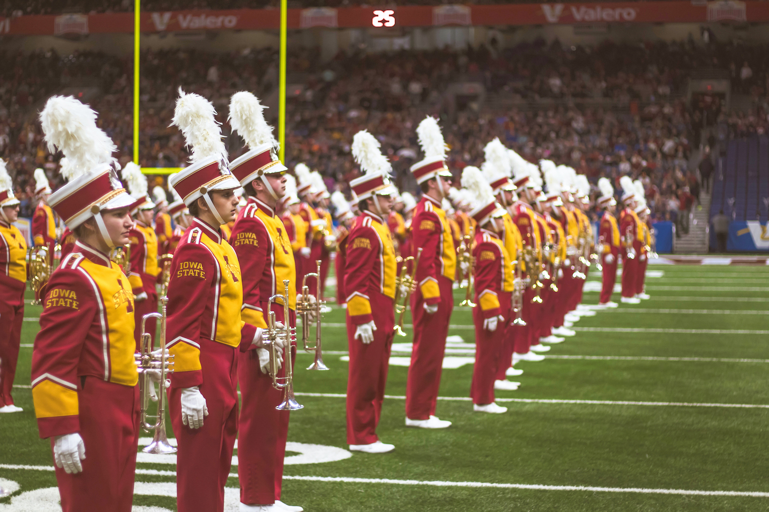 Iowa State Marching Band on the field
