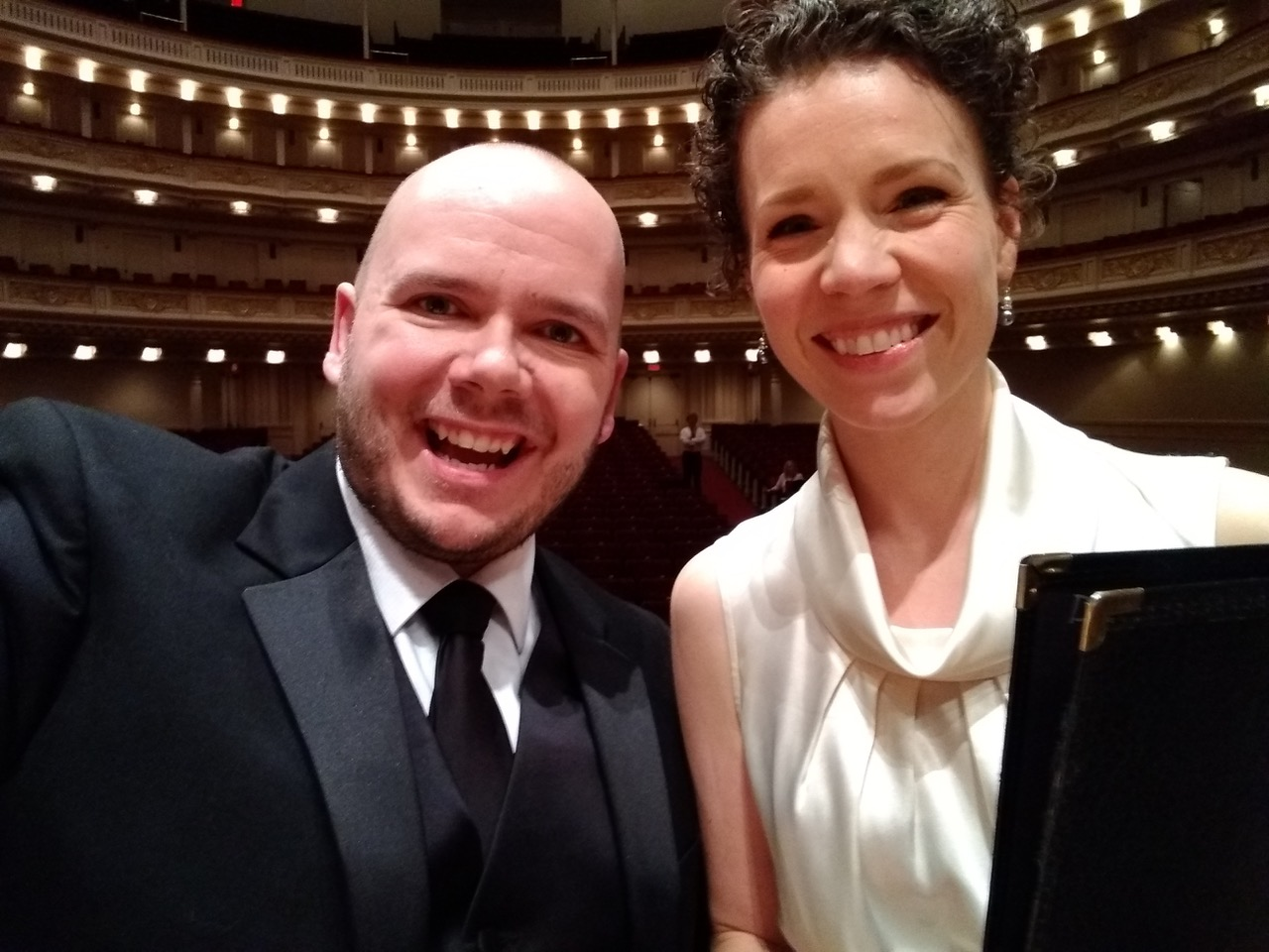 Two performers in Carnegie Hall.